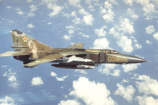 Mikoyan-Gurevich MiG-23 fighter-bomber aircraft from the Soviet Union