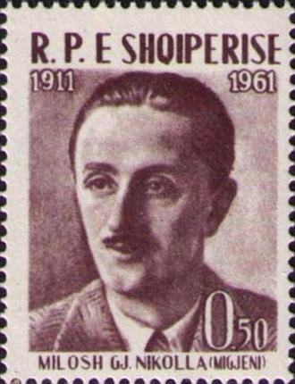 Millosh Gjergj Nikolla - Nikolla on a 1961 Albanian stamp