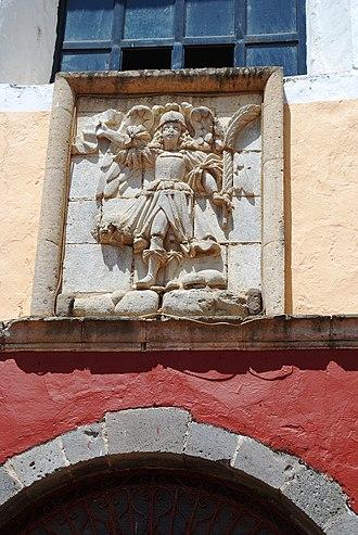 Huasca de Ocampo - Image of the Archangel Michael above the main portal