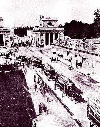 Trams in Milan - Inauguration of the Milan–Monza tramway, 1876.