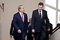 Ministru prezidents Valdis Dombrovskis tiekas ar Armēnijas parlamenta spīkeru Oviku Abraamjanu (Hovik Abrahamyan) (8955553069).jpg