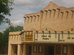 The former Mission Twins Theater in downtown Dalhart is covered in stucco over the original brick to give it an adobe look.