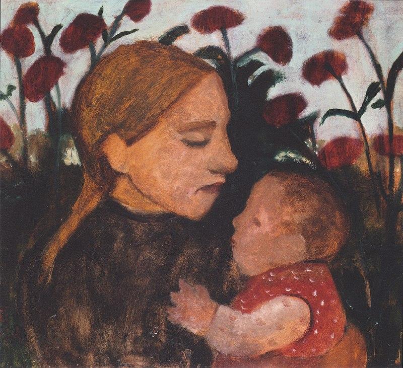 Modersohn-Becker - Mädchen mit Kind vor roten Blumen - 1902.jpeg