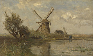 Windmill on a pond