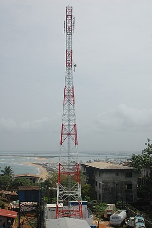 Communications in Liberia - A Cellcom Liberia antenna in Monrovia (2009).