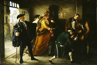 """Esquilache Riots - Demonstrators being outfitted as  """"Hats-and-Capes""""; painting by  José Martí y Monsó (1864)"""