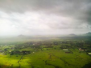 Pandavleni Caves - Panorama from the caves, during the monsoon season.