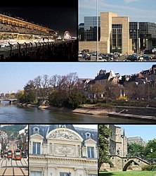Tap row: left, Le Mans 24-hr automobile race in Juin; richt, Le Mans Justice Depairtment Office; Middle row: View o Sarthe River an historic aurie, includin the Palais o Comtes du Maine; Bottom row: left, Le Mans Tramway in Gambetta Street; center, Facade biggit in Le Mans Commerce Center; richt, Saunt Julien Cathedral
