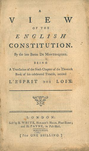 Francis Maseres - Image: Montesquieu, A View of the English Constitution (translated by Francis Masères, 1781, title page)