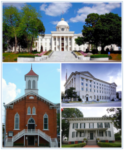 Images top, left to right: Alabama State Capitol, Dexter Avenue Baptist Church, Frank M. Johnson Jr. Federal Building and United States Courthouse, First White House of the Confederacy