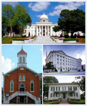 Images top, left to right:Montgomery Skyline from the Alabama River, Alabama State Capitol, Dexter Avenue Baptist Church, Frank M. Johnson, Jr., Federal Building and United States Courthouse, First White House of the Confederacy