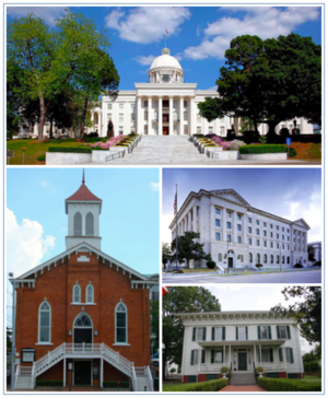 Montgomery, Alabama - Images top, left to right: Alabama State Capitol, Dexter Avenue Baptist Church, Frank M. Johnson, Jr., Federal Building and United States Courthouse, First White House of the Confederacy