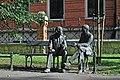 Monument of Polish mathematicians Stefan Banach and Otton Nikodym (2016, designed by Stefan Dousa), Planty Garden Park, Podzamcze street, Old Town, Krakow, Poland.jpg