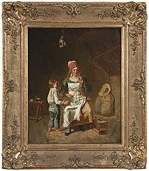 Mor och son med en fågel, målad av Anne-Geneviève Greuze.jpg