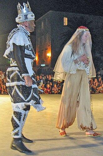 Moreška - Moro and Bula dancing the Moreška, on St. Todor's day in Korčula