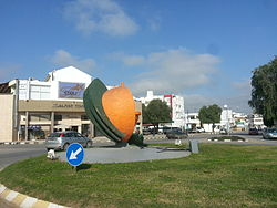 The symbolic orange monument at the center of Morphou, representing the town's citrus industry