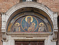 Mosaic Madonna and Child pediment side entrance Church Santa Maria in Aracoeli, Rome, Italy.jpg