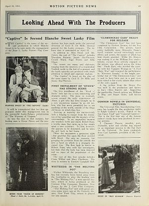 The Captive (1915 film) - A 1915 news article about the film