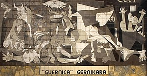 "Guernica (Picasso) - A tiled wall in Gernika claims ""Guernica"" Gernikara, ""The Guernica (painting) to Gernika."""