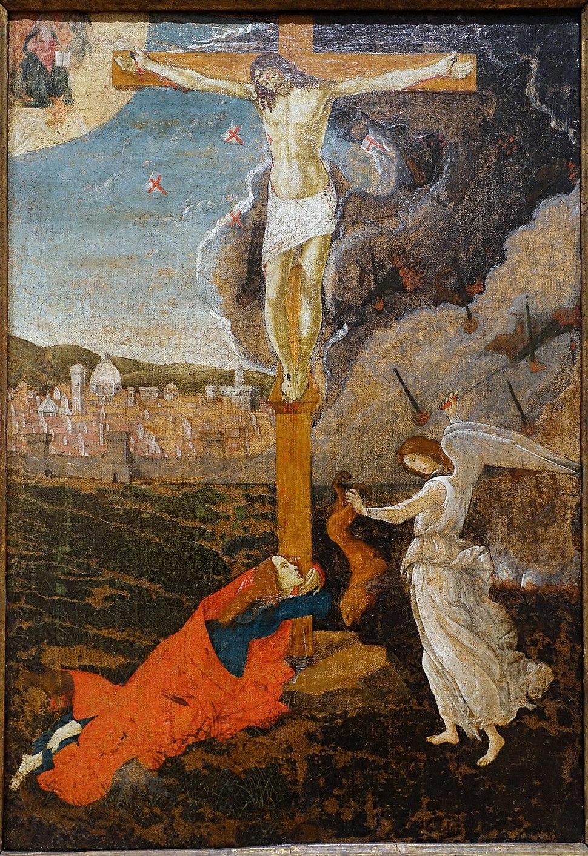 Mystic Crucifixion with themes from Savonarola, Sandro Botticelli, Italy, c. 1500, tempera and oil on canvas - Fogg Art Museum, Harvard University - DSC01048