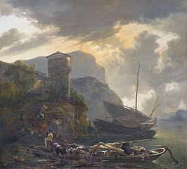 Italianate landscape with boats