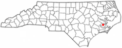 Location of Alliance, North Carolina