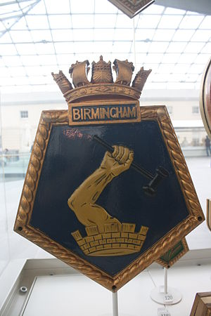 HMS Birmingham (C19) - Ship's badge in the National Maritime Museum