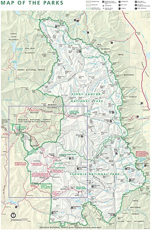 Kings Canyon National Park - Map of Kings Canyon National Park (click to enlarge)