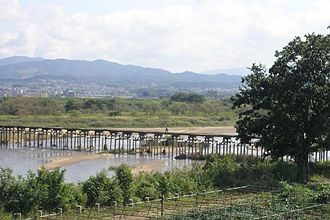 Yawata - Kotsuya Bridge, as known for low water crossing place in Japan.