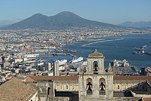 View of the Gulf of Naples from the Castel Sant'Elmo, with the Certosa di San Martino in the foreground