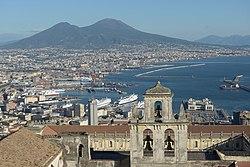 Naples from the Castello Sant Elmo with Abbazia San Martino the port and the Vesuv.jpg