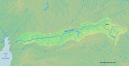 Map showing the course of the Narmada, selected tributaries, and the approximate extent of its drainage area