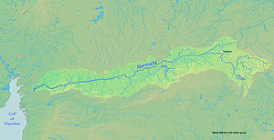 Map of the Narmada River, which drains part of...