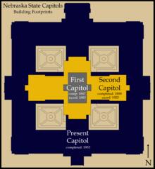 Nebraska state capitol wikipedia comparison of the footprints of the three nebraska state capitols malvernweather Image collections