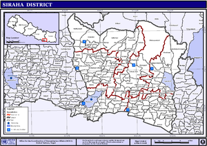 Siraha District - VDCs and Municipalities (blue) in Siraha District
