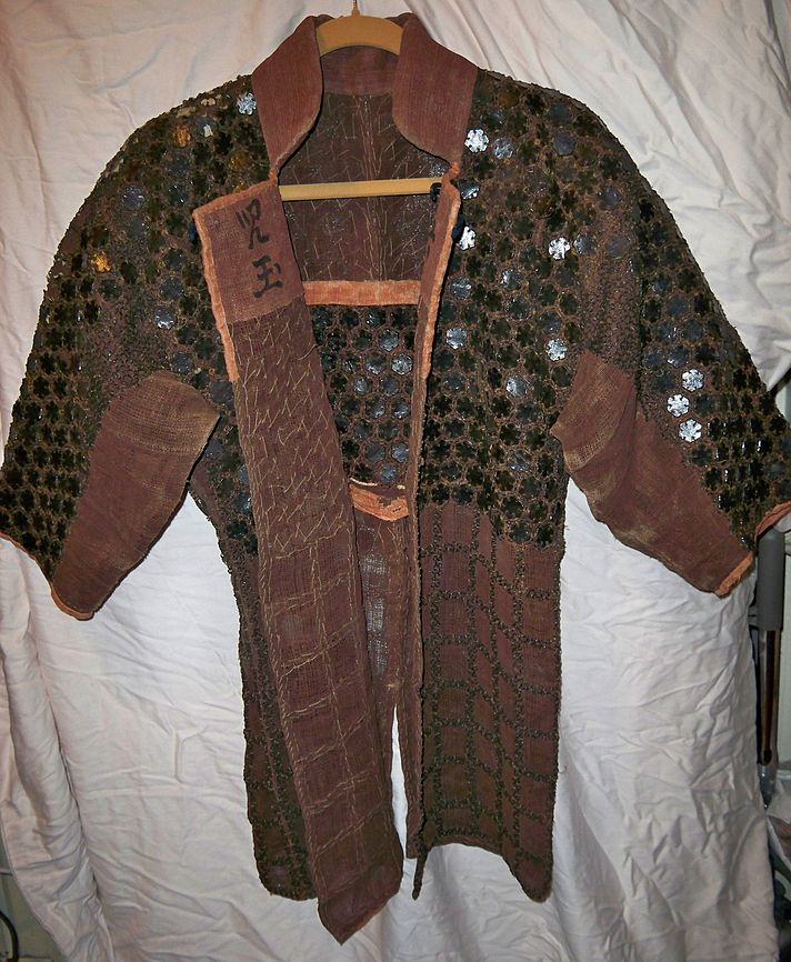 Here Is A Samurai Wearing Armor Represented By Cross Hatching For The Kusari With Plates Attached At Fore Arms