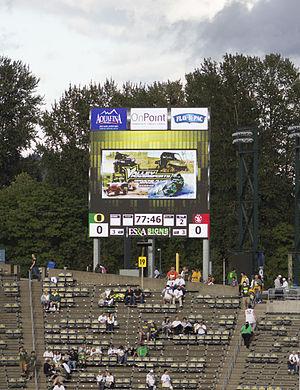 Autzen Stadium - The new digital score board in the east end-zone in 2014