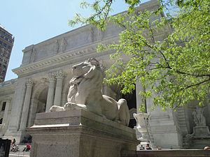"Edward Clark Potter - ""Fortitude"" Lion, New York Public Library (1910-11)."