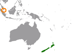 Map indicating locations of New Zealand and Singapore