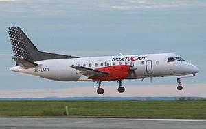 En af selskabets Saab 340 lander på Åre Östersund Airport.