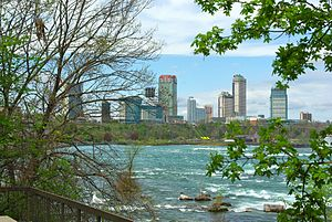 Niagara Falls, Ontario - Looking north on the Niagara River towards Niagara Falls, Ontario