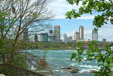 Looking north on the Niagara River towards Niagara Falls, Ontario Niagara Falls, Ontario, skyline, 2010.jpg