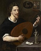 Painting of Nicholas Lanier holding a lute, 1613