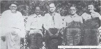 Bangladesh Scouts - From left to right – Brother Peter C.S.C., Headmaster St. Gregory; Nicholas Rozario, Deputy Camp Chief (East Pakistan); J. S. Wilson, Director of International Bureau; Squadron Leader H.V. Bhatty, Scout Provincial Secretary and  A.R. Sardar Hussain, Scout Camp Chief for Pakistan
