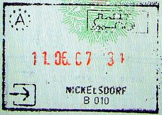 Nickelsdorf - Image: Nickelsdorfpassports tamp