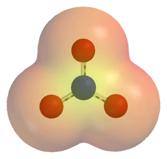 Ion - An electrostatic potential map of the nitrate ion (NO3−). The 3-dimensional shell represents a single arbitrary isopotential.