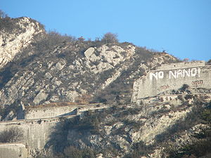 Pollution from nanomaterials - Groups opposing the installation of nanotechnology laboratories in Grenoble, France, spraypainted their opposition on a former fortress above the city in 2007