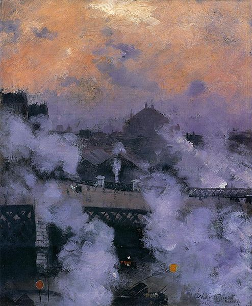 Datei:Norbert Gœneutte -The Pont de l'Europe at Night.jpg