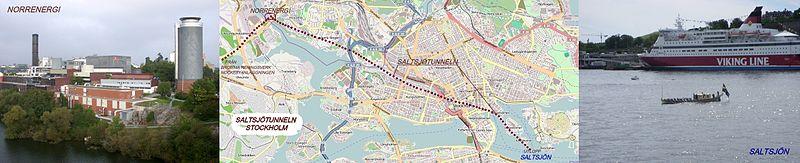 Tunnellen begynder i vest ved Nordenergi tæt på Huvudstabron og munder ud i Saltsøen syd for Kastelholmen, omtrent hvor fotoet viser kongebåden Vasaorden.