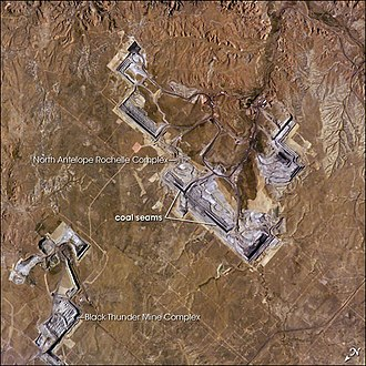 Peabody Energy - Peabody's North Antelope Rochelle Coal Mine, Wyoming in 2005, from ISS. A portion of Arch Coal's Black Thunder Mine Complex is visible to north (left).